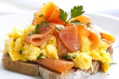Smoked Salmon Scrambled Eggs royalty free stock photography