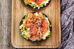 Free Smoked Salmon, Scrambled Eggs And Avocado Rye Crisp Toast Royalty Free Stock Photos - 159639918