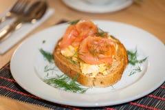 Smoked Salmon scrambled eggs Royalty Free Stock Photo
