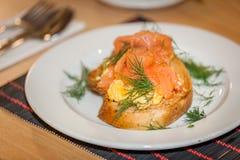 Smoked Salmon scrambled eggs Royalty Free Stock Photos