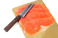 Smoked salmon. Sliced with knife Royalty Free Stock Photo