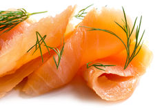 Smoked salmon in slices with dill garnish Stock Images