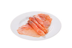 Smoked salmon slices in a dish isolated Stock Photo