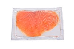 Smoked salmon slices in package isolated Stock Photography