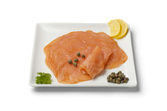 Smoked salmon slices Stock Photos