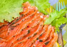 Smoked salmon slices served with salad and dill Stock Photos
