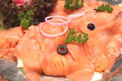 Smoked salmon slide Royalty Free Stock Images
