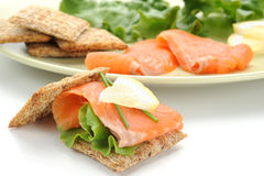 Smoked Salmon Snack Royalty Free Stock Images