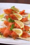 Smoked salmon snacks Stock Image