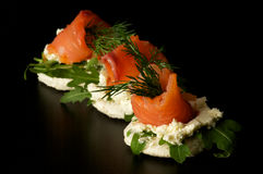 Smoked salmon snacks Stock Photos