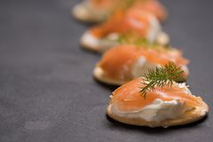 Smoked Salmon and soft chees canapes appetizers. With chives on black table Royalty Free Stock Images