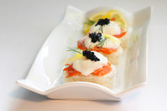 Smoked Salmon with Sour Cream Royalty Free Stock Photography