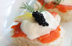 Smoked Salmon with Sour Cream Royalty Free Stock Image