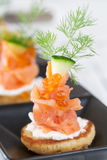 Smoked salmon and sour cream appetiser Stock Photos