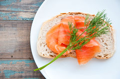 Smoked Salmon on Sourdough Bread. Stock Image