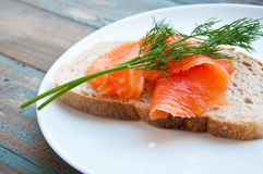 Smoked Salmon on Sourdough Bread. Royalty Free Stock Photos
