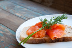 Smoked Salmon on Sourdough Bread. Royalty Free Stock Image