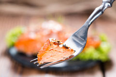 Smoked Salmon with spices Stock Image