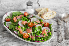 Smoked salmon, spinach, green peas, radish and tomato salad. Stock Photo