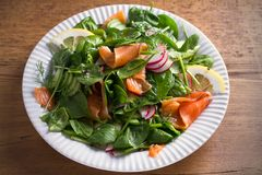Smoked salmon spinach radish cucumber salad with lemon on white plate on wooden table. Horizontal Royalty Free Stock Images