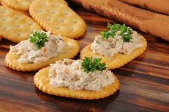 Smoked salmon spread on crackers Royalty Free Stock Photo