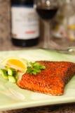 Smoked Salmon Steak Dish Stock Photos
