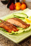 Smoked Salmon Steak Dish Royalty Free Stock Photography