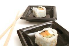 Smoked salmon sushi stock photography