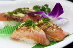 Smoked salmon sushi. Delicious and colorful smoked salmon sushi Royalty Free Stock Image