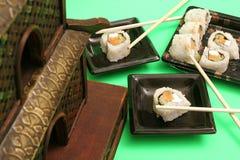 Smoked salmon sushi dinner. Picture of smoked salmon sushi dinner Royalty Free Stock Photos