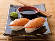 Smoked Salmon Sushi Nigiri Stock Images