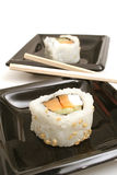Smoked salmon sushi vertical stock photos