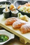 Smoked salmon sushi Stock Photos