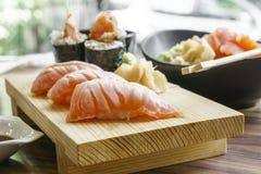 Smoked salmon sushi Stock Images