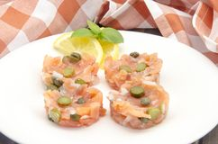 Smoked salmon tartare Royalty Free Stock Photo