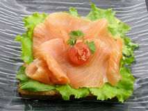 Smoked salmon toast Stock Image