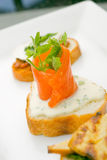 Smoked salmon on toast Royalty Free Stock Photography
