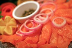 Smoked Salmon Tray royalty free stock images
