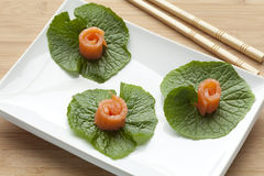 Smoked salmon on wasabi leaves Stock Images