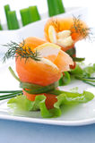 Smoked salmon on a white plate Royalty Free Stock Image