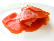 Smoked salmon on white plate Royalty Free Stock Photography