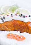 Smoked salmon with white sauce Stock Images