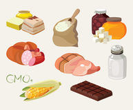 Smoked, salt, chocolate, sausage, fats, GMOs, sweets, semolina. Food is harmful to the intestines. For your convenience, each significant element is in a Stock Photos