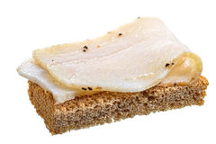 Smoked salted lard with garlic and rye bread Stock Image