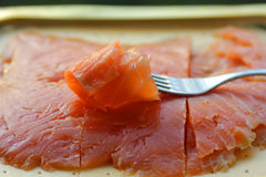 The smoked salted salmon Stock Image