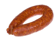 Smoked sausage. Isolated over a white background Stock Photography