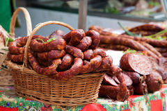 Smoked sausage. In a traditional market Stock Images