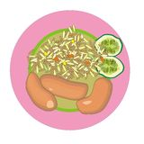 Smoked sausage. With fried rice and vegetables on a round plate Stock Photos