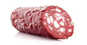 Smoked sausage isolated Stock Images