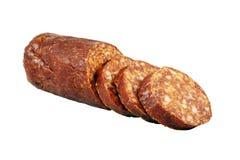 Smoked sausage isolated on white Stock Photos